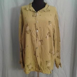 Chico's 3 Silk Shirt Button Front Blouse